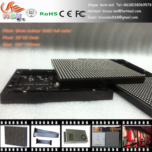RGX SMD P6 Indoor full color Led Display Module 192mm*192mm 32*32pixel 1/16 scanning rgb video constant current panel