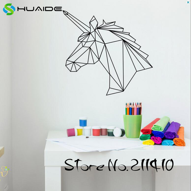 Unicorn Wall Decal Geometric Wall Decal Nursery Kids Room Girl Bedroom  Custom Wall Stickers Vinilos Paredes