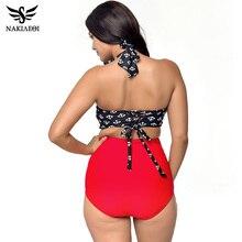NAKIAEOI High Waist Swimsuit Plus Size Swimwear Women Vintage Bikini Bathing Suit Retro Bikini Set Large Size Swimsuit L~4XL