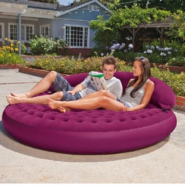 doppel runde bett plus r ckenlehne faul sofa tragbare klappbett kombination luftpolster outdoor. Black Bedroom Furniture Sets. Home Design Ideas