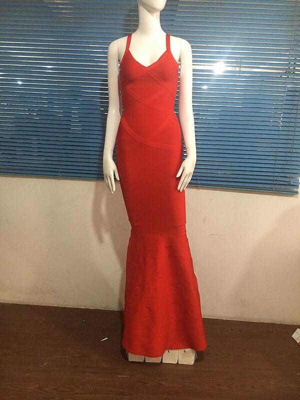 Mode Élégant 2016 Rouge Sexy Longueur Étage Designer Bandage Tricoté Moulante Femmes Robe Rayonne Longue Bdqv157Wxw