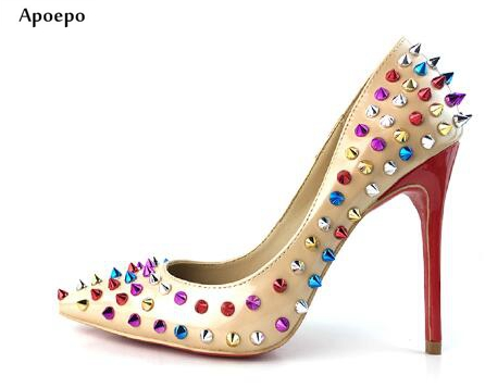 Apopeo 2018 Spring Newest Rivets Studded high heel shoes woman thin heels sexy pumps big Pointed toe slip-on leather dress heels womens shoes high heel woman pumps spring autumn basic silk slip on pointed toe thin heels sexy wedding shoes ljx04 q