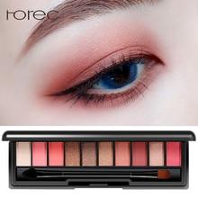 ROREC Eye Shadow Last Long Coloring 10 Colors Glamorous eye shadow makeup palette highlighter light eyeshadow cosmetics brush