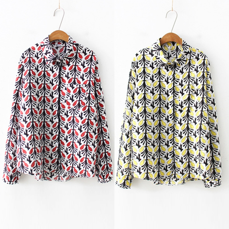 Summer Floral Print Shirts Women Fit Beach Style Blouse Women Lapel Collar Long Sleeve Casual Tops blusas mujer de moda 2019 in Blouses amp Shirts from Women 39 s Clothing