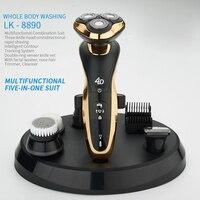 الشعر ماكينة حلاقة 5 في 1 المهنية الكهربائية مقص الشعر المتقلب حلاقة اللحية الحلاقة التصميم أدوات قابلة للشحن-في آلة تهذيب الشعر من الأجهزة المنزلية على