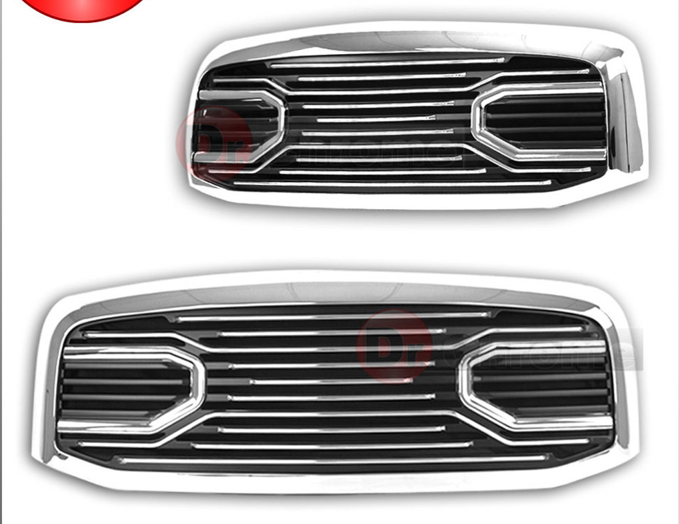 XYIVYG 06-09 for Dodge RAM 2500+3500 Front Hood Chrome Big Horn Grille+Replacement Shell xyivyg 2006 2008 for dodge ram 1500 2500 3500 mesh style front hood grille glossy black abs