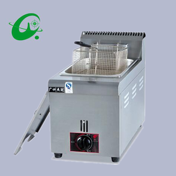 Vertical gas temperature fryer 6L French fries Duck Counter top Deep Fryer Gas cylinder blast furnace