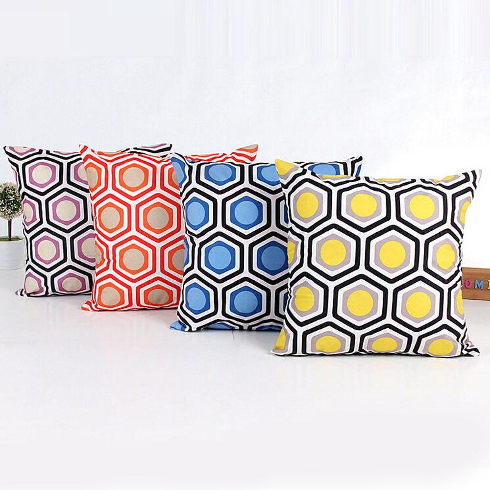 Obedient Simple Geometric Hexagon Blue,orange,purple,yellow Pillow Cover Shape Sofa Home Decor High Quality Cotton Cloth Cushion Cover Home & Garden