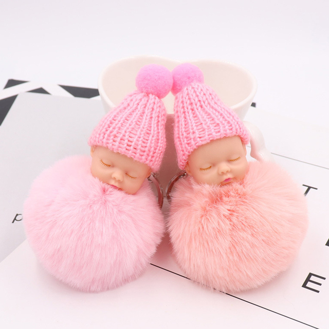 Pompom Sleeping Baby Doll Keychain Rabbit Fur Ball Fluffy Key Chain - Pompon porte clé