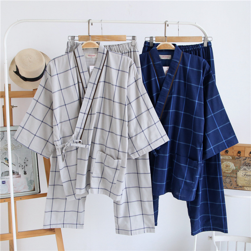 Image 3 - Traditional Men Japanese Pajamas Sets 100% Cotton Simple Kimono Yukata Nightgown Sleepwear Bathrobe Leisure Wear Lover Homewear-in Asia & Pacific Islands Clothing from Novelty & Special Use