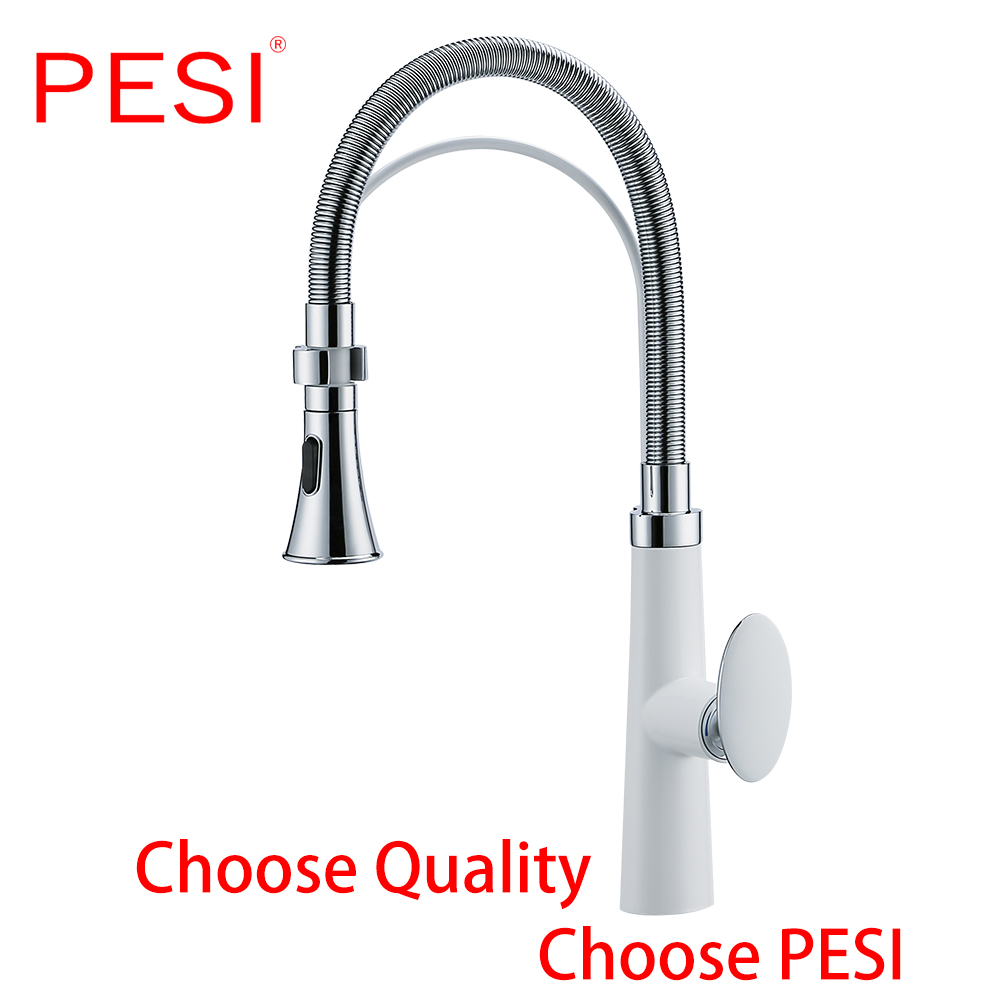 Pull Out Kitchen Sink Faucet Swivel Mixer Tap With Pull Down Sprayer Process 360 Degree Rotation Deck Mounted,White And Chrome.
