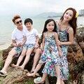 Nuevo vestido de la playa moda de la familia para la madre e hija de tres correa de espagueti del vestido de bohemia beach summer qzz