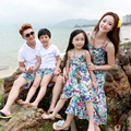 new beach dress Family fashion clothes for mother and daughter of three one-piece dress spaghetti strap bohemia beach summer qzz