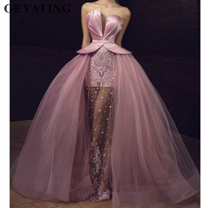 Saudi Arabic Long Pink Tulle Prom Dresses 2019 Elegant Off Shoulder Illusion Beads Lace Applique Overskirt Dubai Evening Dress