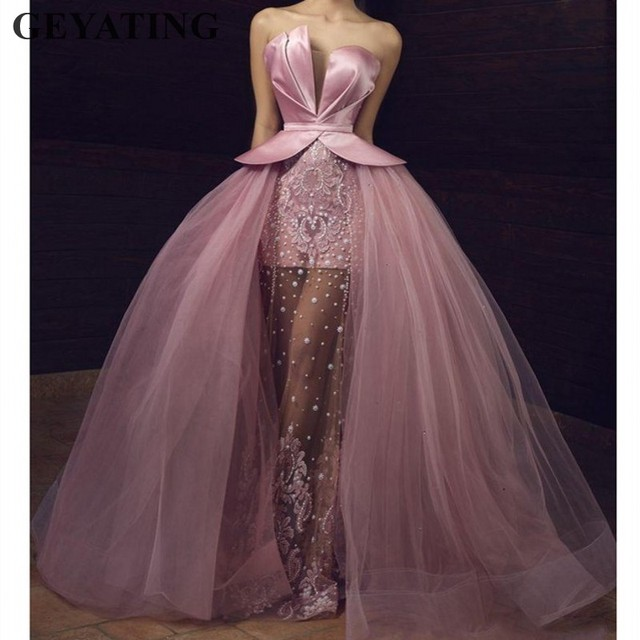 6b9b5293598 Saudi Arabic Long Pink Tulle Prom Dresses 2019 Elegant Off Shoulder Illusion  Beads Lace Applique Overskirt Dubai Evening Dress