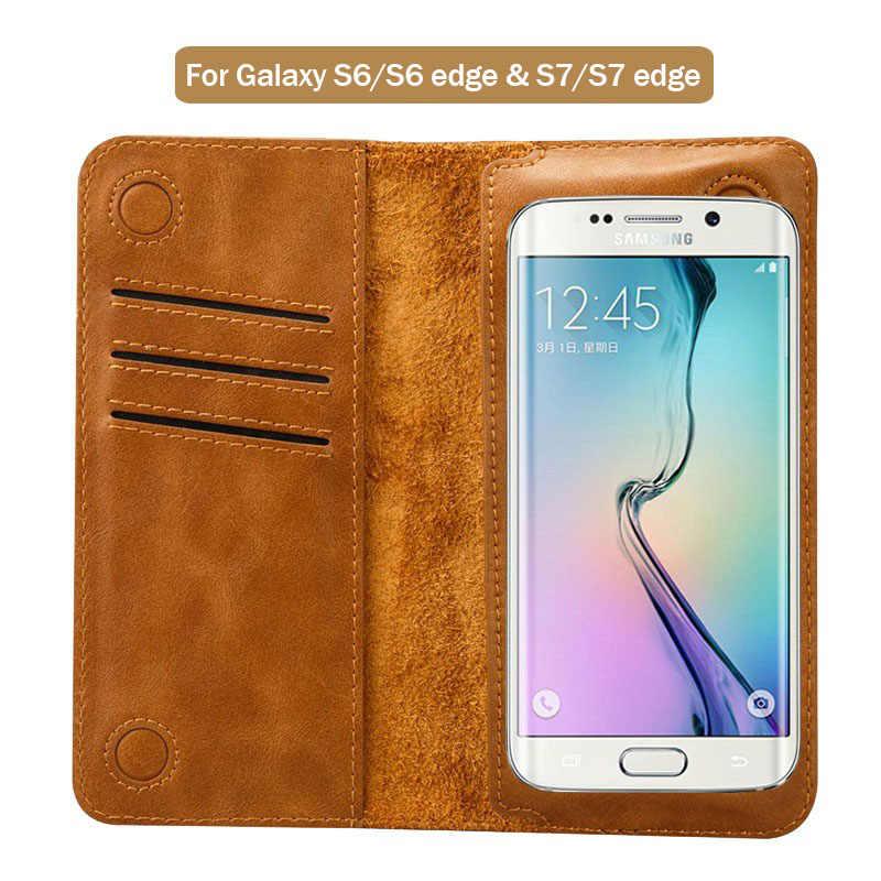 Jisoncase Telefon Fall für Samsung Galaxy S8 S7 S7 rand PU Ledertasche Brieftasche Tasche für Samsung Galaxy S6 S6 rand Abdeckung Card Slot