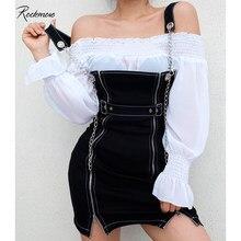 Rockmore czarny łańcuszek Zipper Split prosto Strappy Mini sukienka kobiety pasek na klamrę Punk Style swobodne sukienki moda 2019 lato