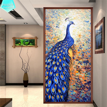 PSHINY 5D DIY Diamond embroidery sale Blue Peacock pictures Full Square Rhinestone Animals Painting cross stitch