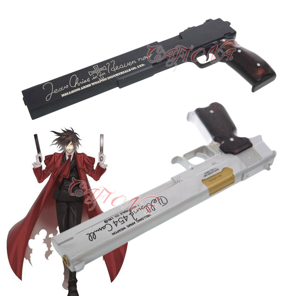 Competent Cafiona Hot Hellsing Alucard Cosplay Costume Props Black Or Silver Gun Weapons Halloween Prop Delicacies Loved By All Costume Props