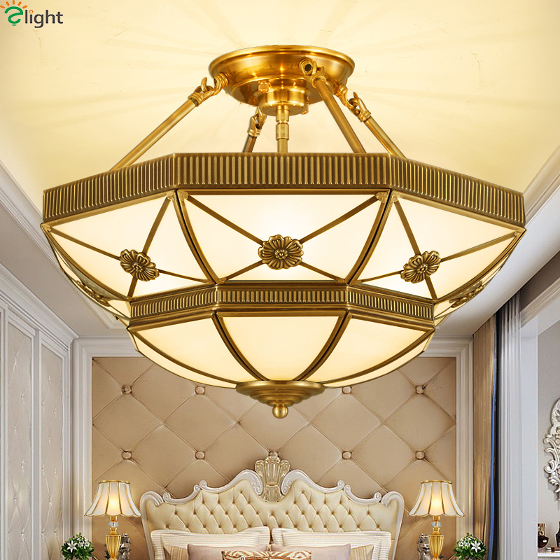 Europe Retro Copper Led Pendant Chandeliers <font><b>Lights</b></font> Lustre Glass Bedroom Led Chandelier Lighting Fixtures Hanging <font><b>Light</b></font> Luminaria