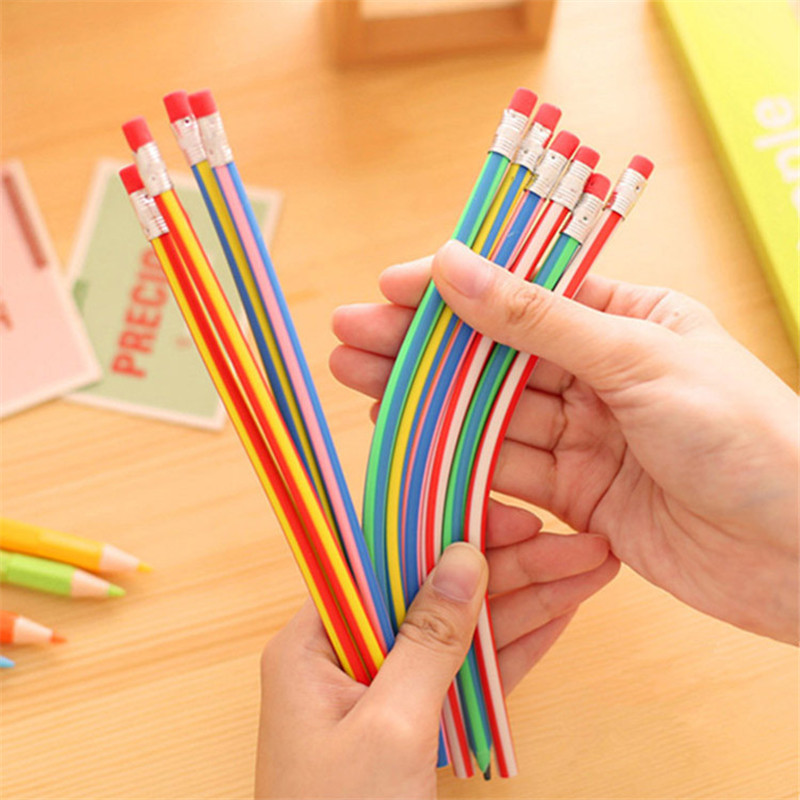 5Pcs Creative Magic Color Soft Bendy Pencil Eraser Rainbow Bend Flexible School Stationery Store Cute Kids Children Pen Material
