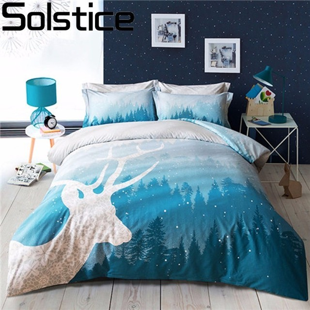Solstice Textile Cyan Deer Head Fashion Printing Bedding Sets Queen Size Bed  Linen Bedclothes Printed Bed