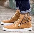 2016 Sapatas Dos Homens de Moda Outono Inverno Quente Botas De Cowboy Homens Outono Calçados de couro para o Homem Novo de Alta Top Sapatos Casuais Marrom Preto