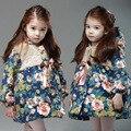 Autumn and winter wear  girls Korean flower floral cotton padded jacket of small children warm cotton