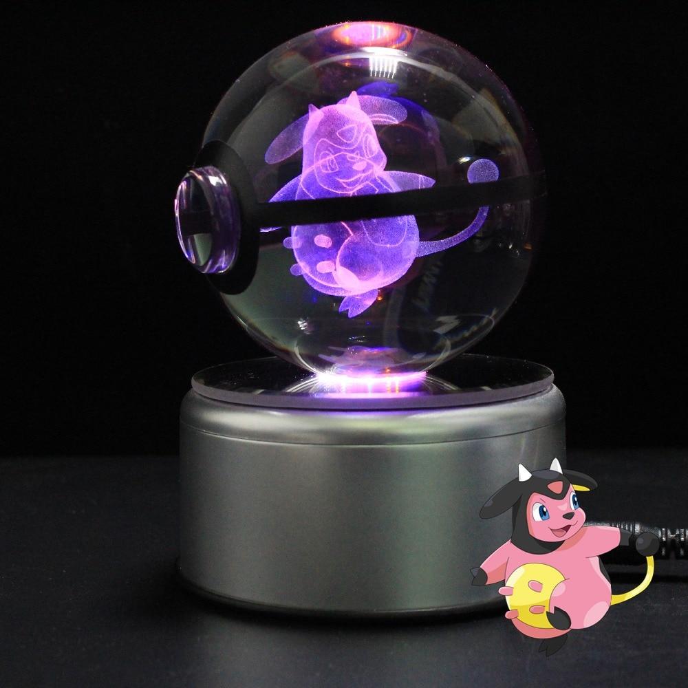 Crystal Pokemon Umbreon 3D LED Decor Night Light Table Lamp Xmas Gift Pokeball