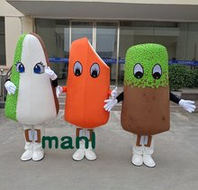Colorful Popsicle Ice Cream Bar Ice-lolly Candy Mascot Costume Suits Halloween Cosplay Party Game Outfit Adults