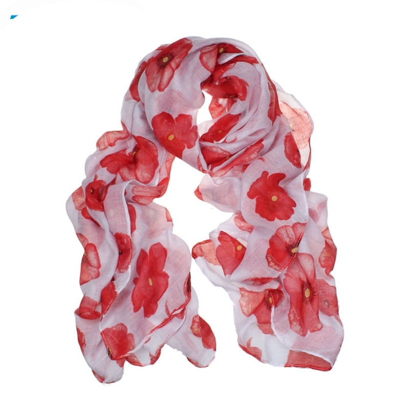 New Fashion Fashion Red Poppy Scarf Print Long Scarves Flower Beach Wrap Ladies Stole Shawl July31 Drop Shipping