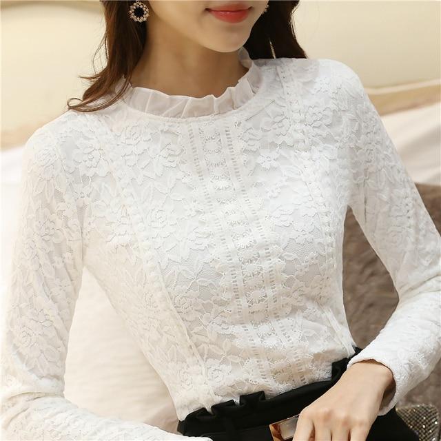 Fashion Autumn Women Shirts Tops Vintage Women shirts Clothes Long Sleeve Shirt Women Lace Tops Tees Lace Top S2606