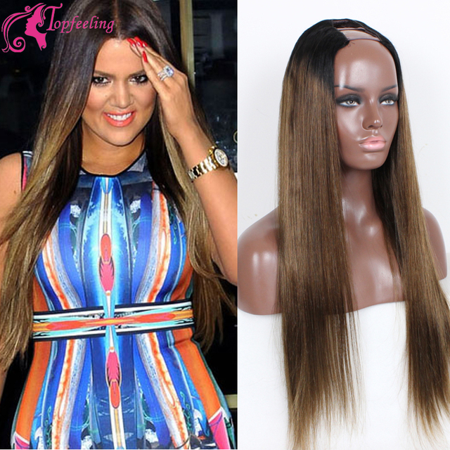 Celebrity Two Tone Ombre Hair B  Remy Human Hair Glueless U Part
