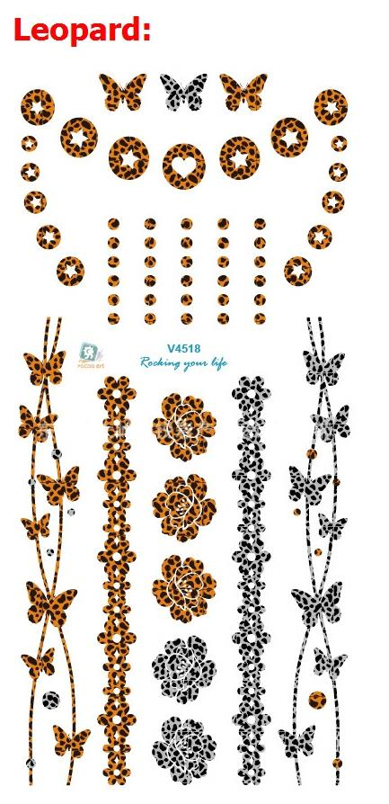 9a97d8f1f Nontoxic hot tattoo stickers waterproof Leopard print color fantasy bracelet  with beautiful patterns of small elements V4518-in Temporary Tattoos from  ...