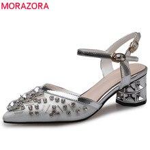MORAZORA 2020 wysokie sandały wysokiej jakości kobiet buty szpiczasty nosek kryształ lato klamerka do butów eleganckie wesele buty kobieta