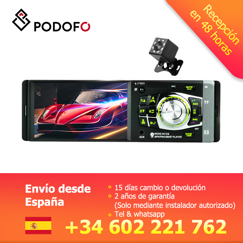 Podofo 1din Car Radio 12V Bluetooth Stereo FM Radio MP5 Player Bluetooth Remote Control In Dash 1 DIN Autoradio Support Camera