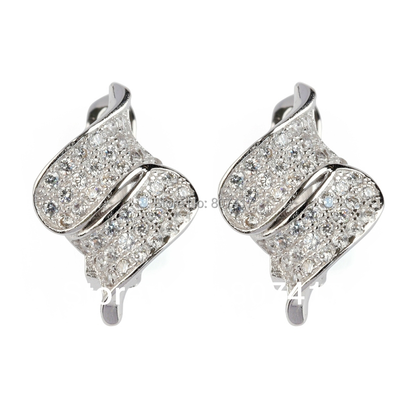 SHUNXUNZE White stone Silver Plated Promotion Favourite Vintage Ethnic Earrings Classic R3238 Romantic Style Women Jewelry Gift