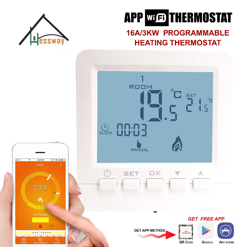 Electric Heating System 16A wireless smart programmable digital remote wifi thermostat heating for APP IOS Android hessway app by smartphone 2p programmable fan valve room thermostat wifi fcu for heating cooling