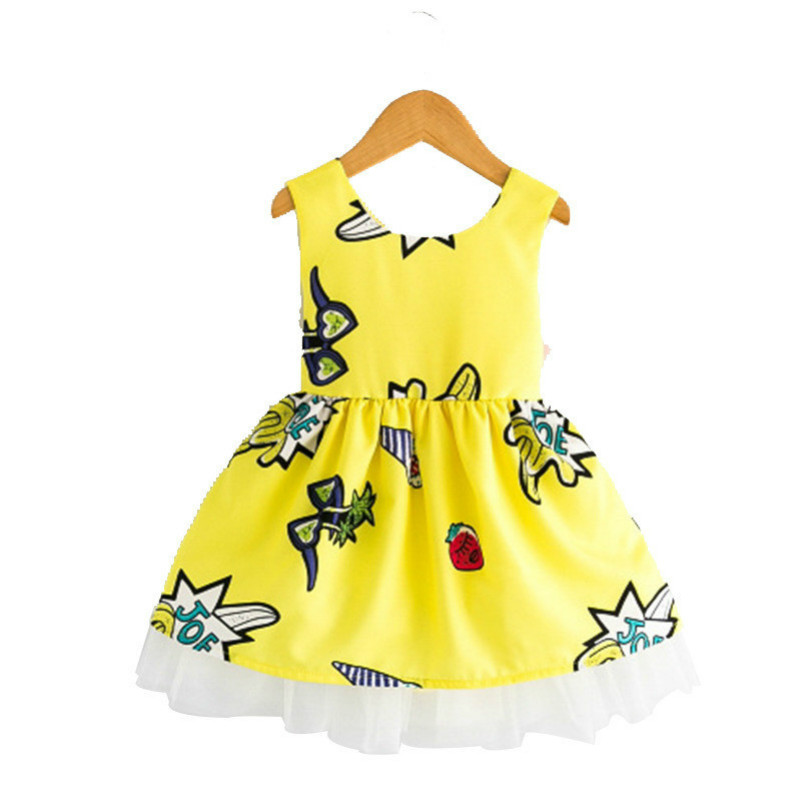 Kids Dresses For Girls Summer Cute Floral Dress Baby Dressing for Party Holiday Yellow and Red with Bow Children Clothes Girls