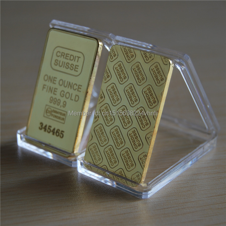 Credit Coin: The CREDIT SUISSE 1oz Pure Gold Plated Bullion Bar Replica