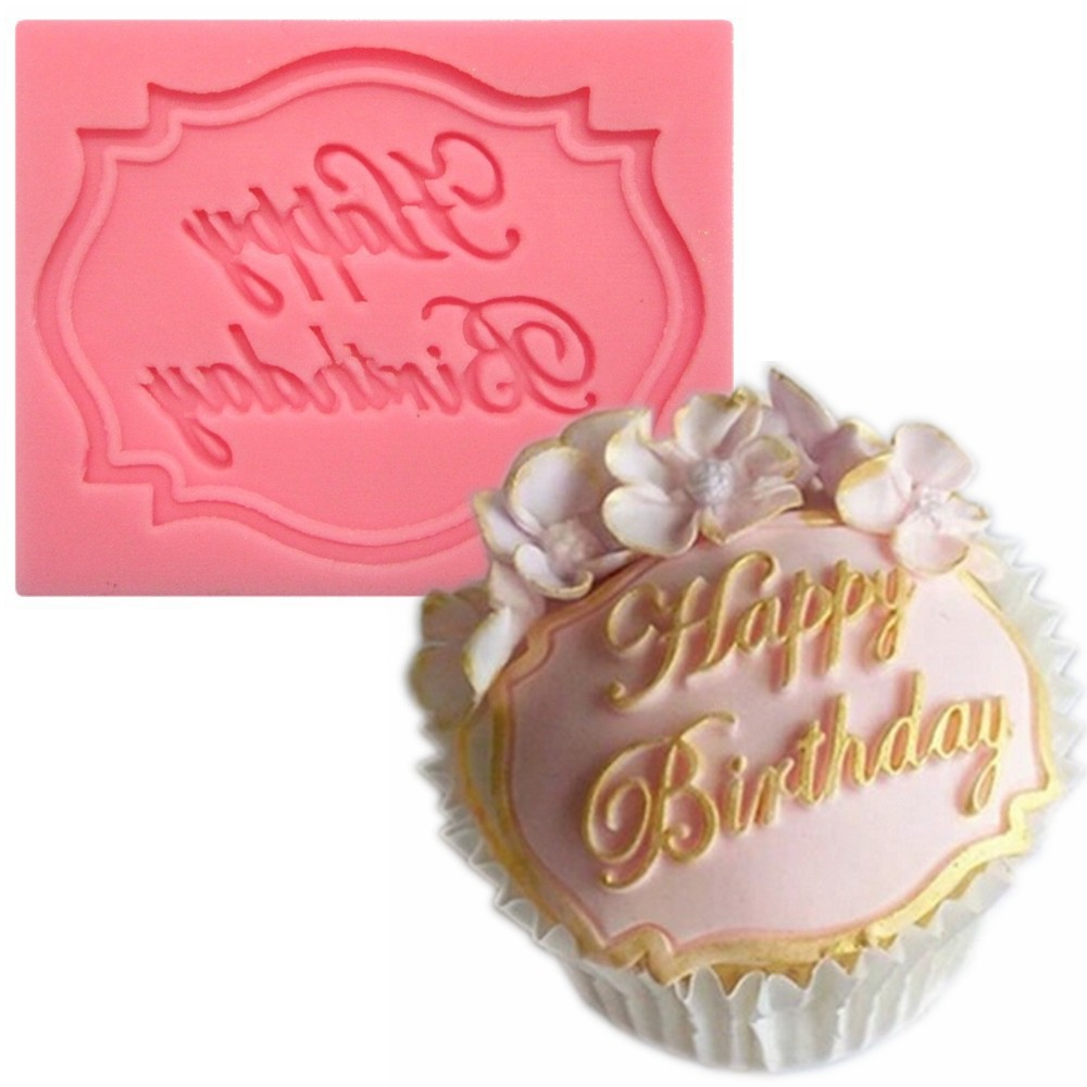 უფასო გადაზიდვა Happy Birthday Silicone Mould 3D Moulds Silicone Cup Cake Moulds Silicone Food Mould Forma A388