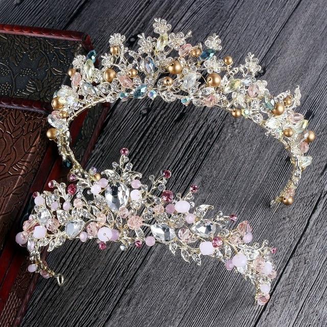 Handmade Bridal Prom Clear /& AB Crystal Silver Tiara headband Purple Pearls
