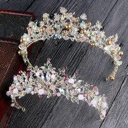 Luxury Pink Gold Pearl Bridal Crowns Handmade Tiara Bride Headbands Crystal Wedding Diadem Queen Crown Wedding Hair Accessories