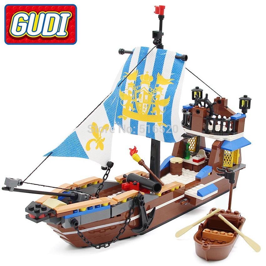 Pirates of the Caribbean French Soldiers on Rowing Boat Legoed Blocks Toys Set