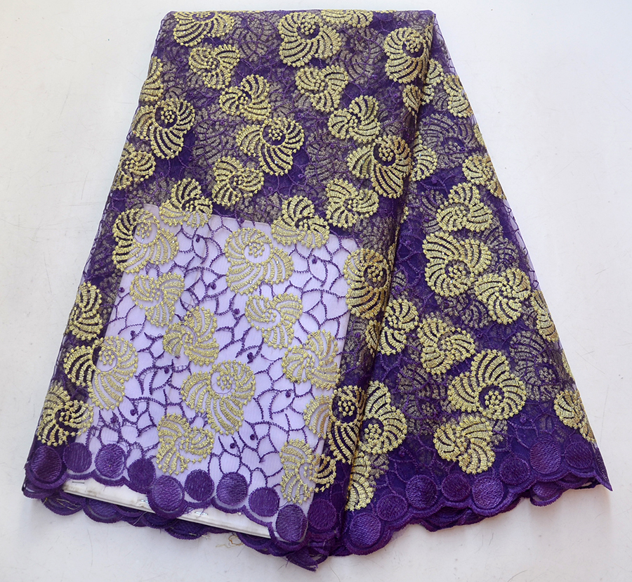 Newest High Quality Purple Net Lace 2018 African Tulle Lace Fabric Fashion French Lace Fabric For Women Clothe