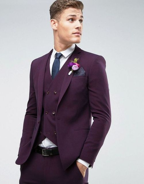 2017 Latest Coat Pant Designs Purple Wedding Suits for Men Slim ...