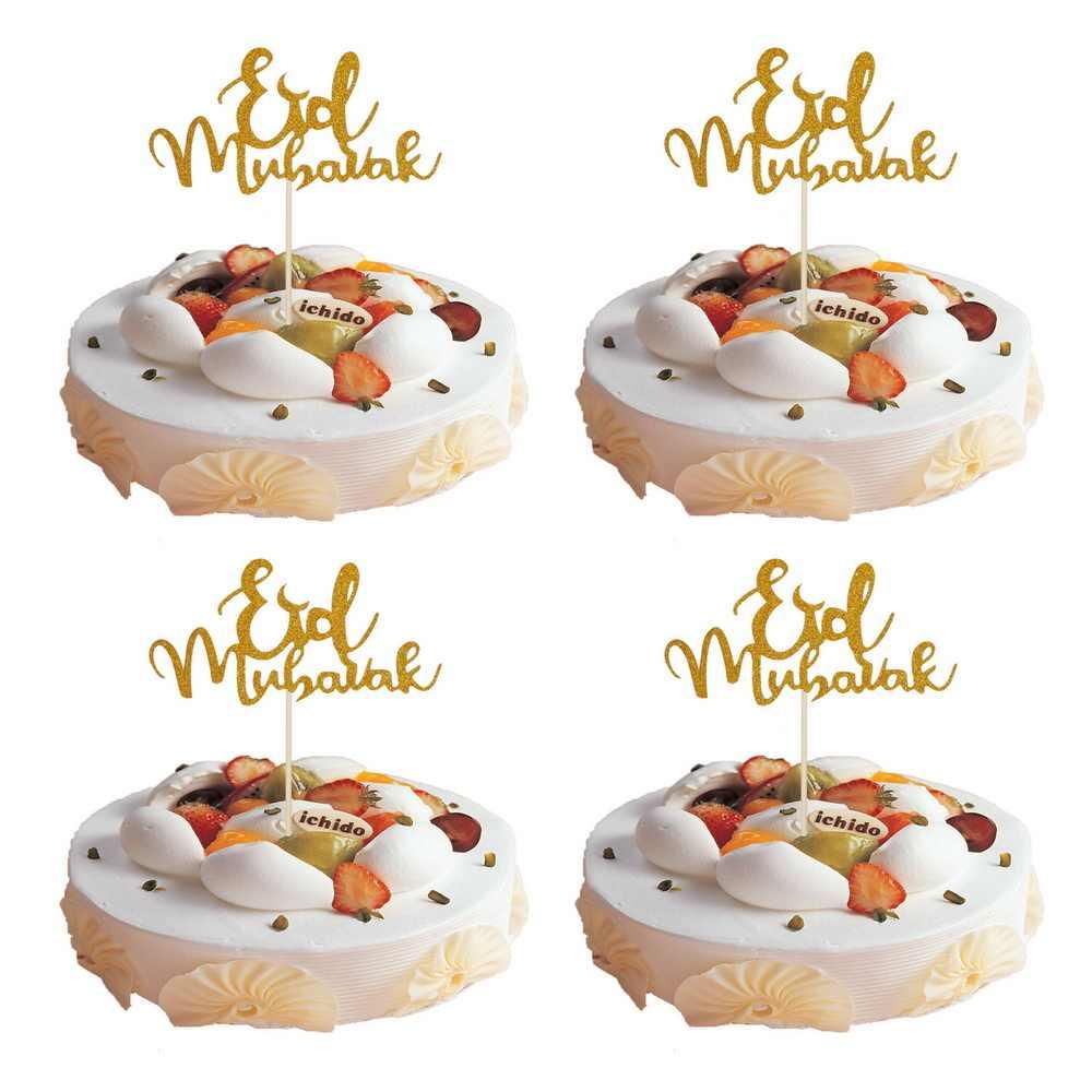 1 шт. Happy Eid Mubarak Торт Топперы радаман карточная вставка торт выпечки аксессуар Золото Серебро мусульманский Eid вечерние украшения