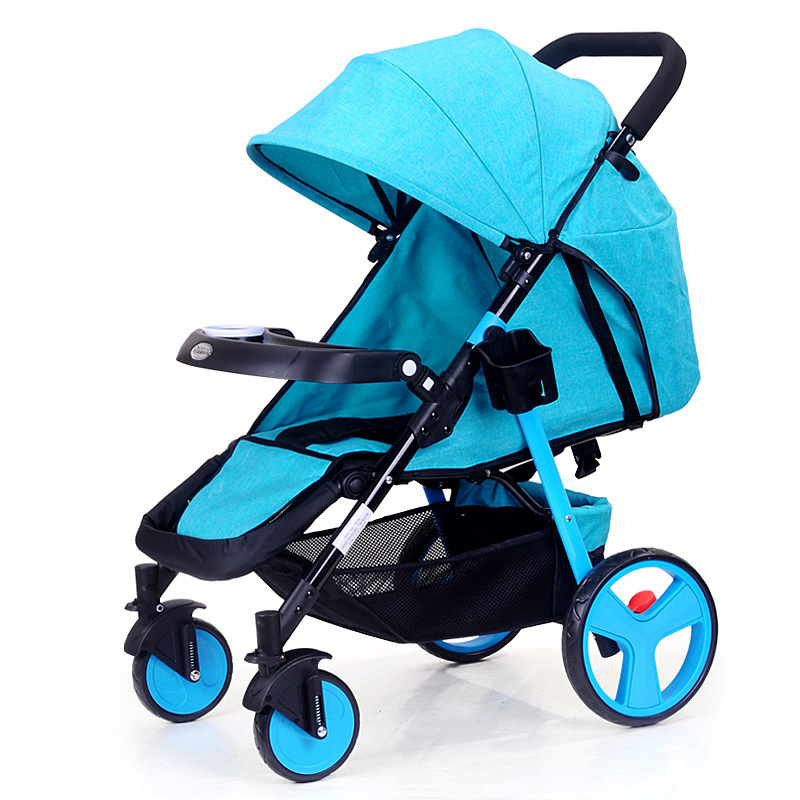 Baby stroller light portable can sit reclining folding four wheel shock absorber trolley baby child car small stroller baby stroller ultra light portable shock absorbers bb child summer baby hadnd car umbrella