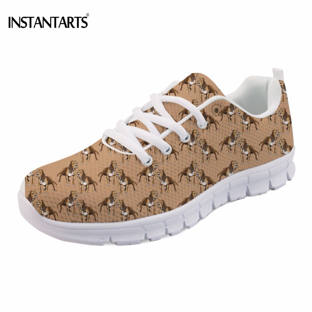 INSTANTARTS Puppy Pitbull Lover Printed Women Sneakers Fashion Spring/Autumn Comfortable Breathable Girl Mesh Flats Shoes Casual