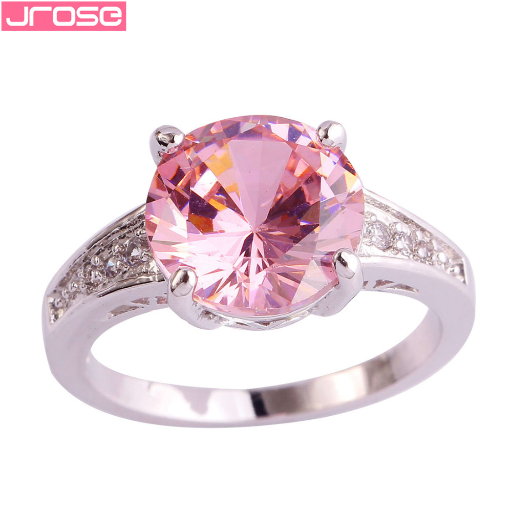 JROSE Wholesale 10*10 mm Round Cut Pink & White CZ Silver Ring Size ...